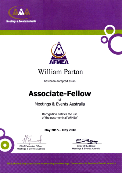 Associate-Fellow of Meetings & Events of Australia (AFMEA)